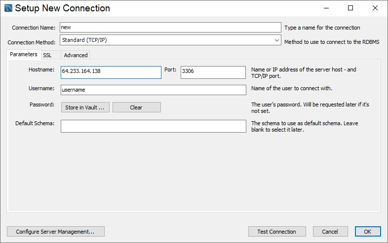 sql create new connection